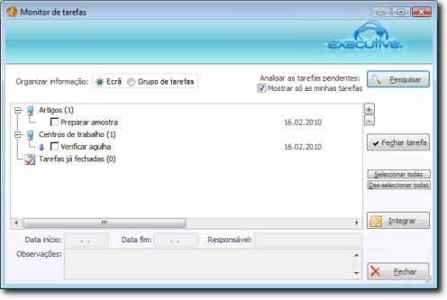 Monitor de Tarefas onde é possível analisar num único ecrã as tarefas pendentes