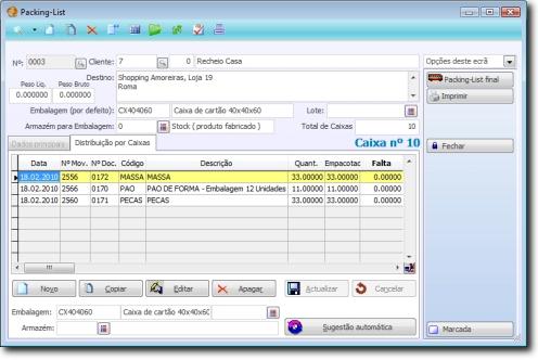 ecrã de Packing-list, distribuição por caixas