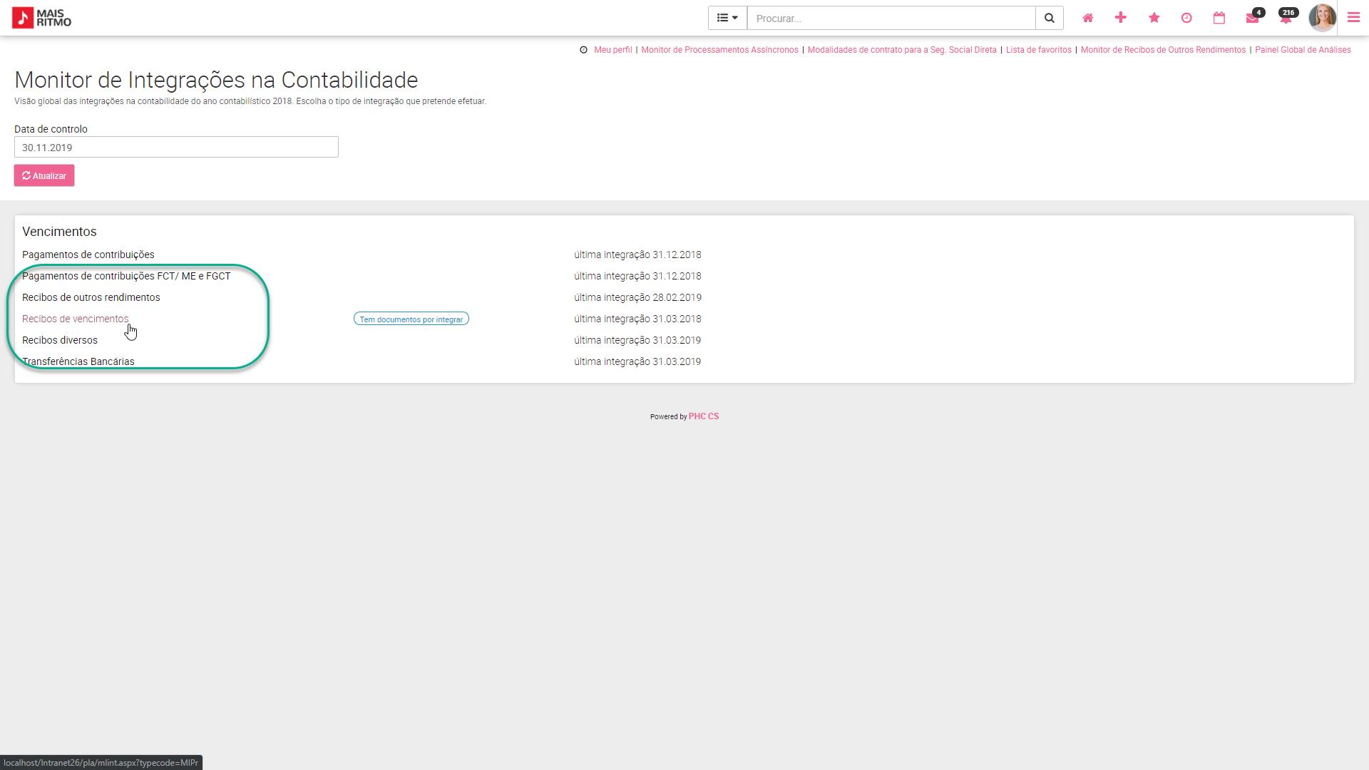 PHC CS web Monitor de Integrações na Contabilidade