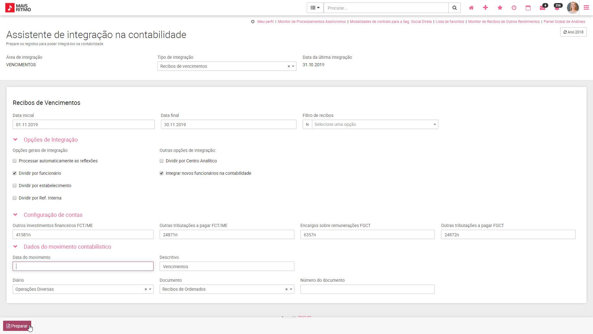 PHC CS web Assistente de Integrações na Contabilidade