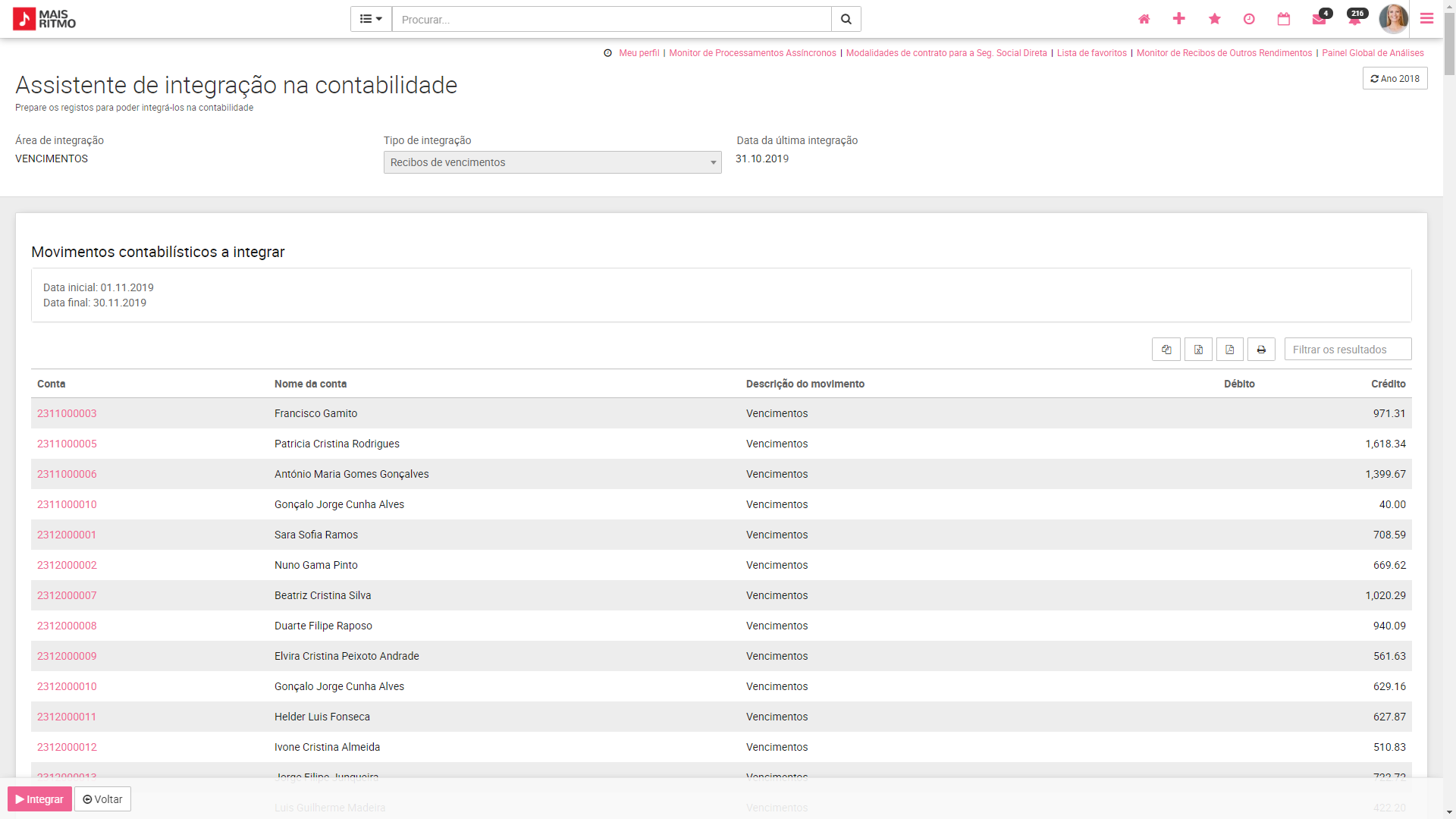 PHC CS web Simulação de Integrações na Contabilidade