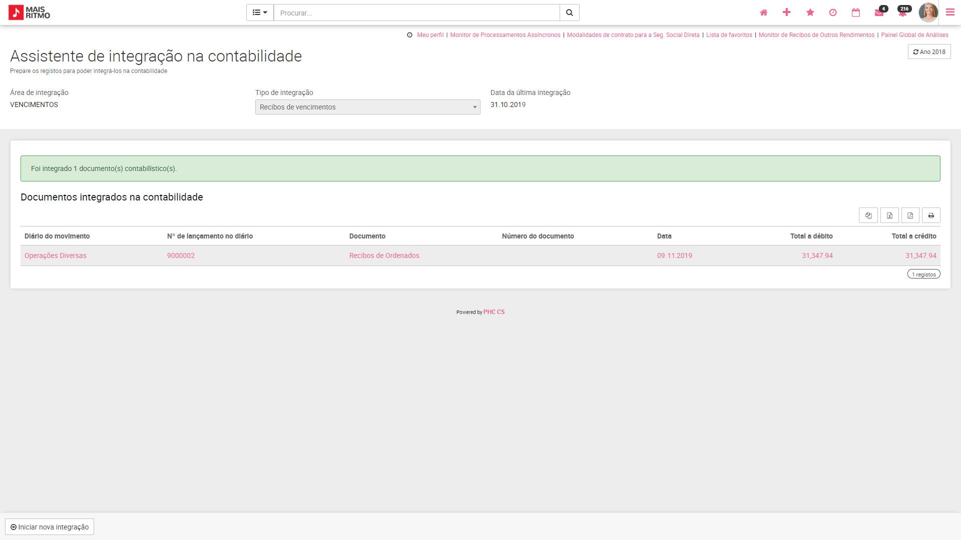 PHC CS web Movimentos de Integrações automaticamente lançados na Contabilidade
