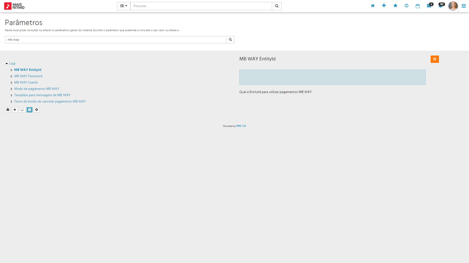 PHC CS Loja web idenficação nos parâmetros dados de acesso ao MB Way