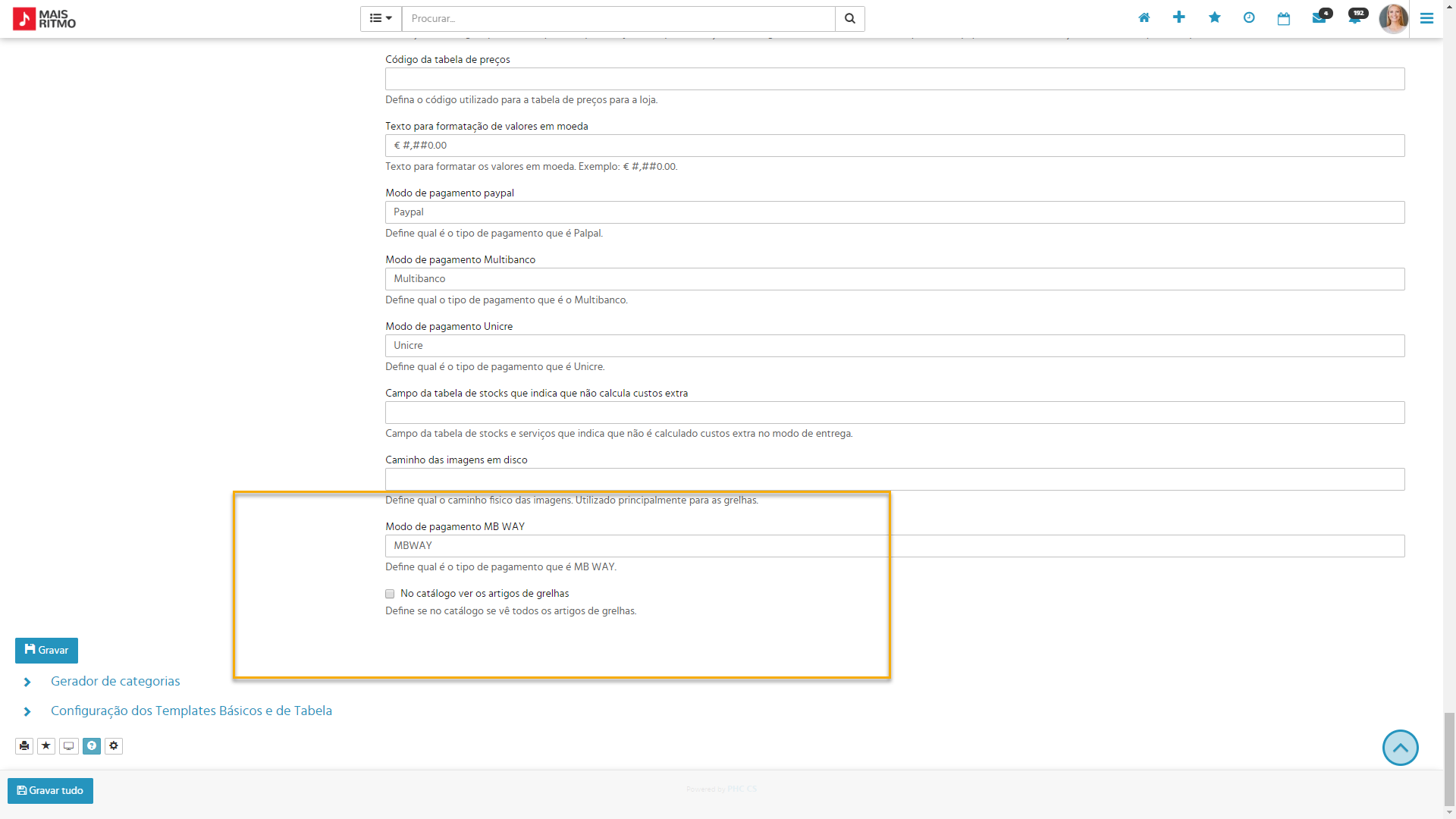 Identificação do modo pagamento MB Way no tema do PHC CS Loja web