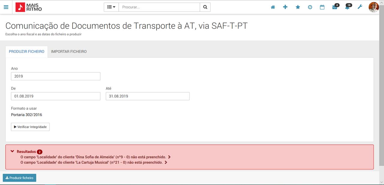 Ficheiro de Comunicação de Documentos de Transporte à AT